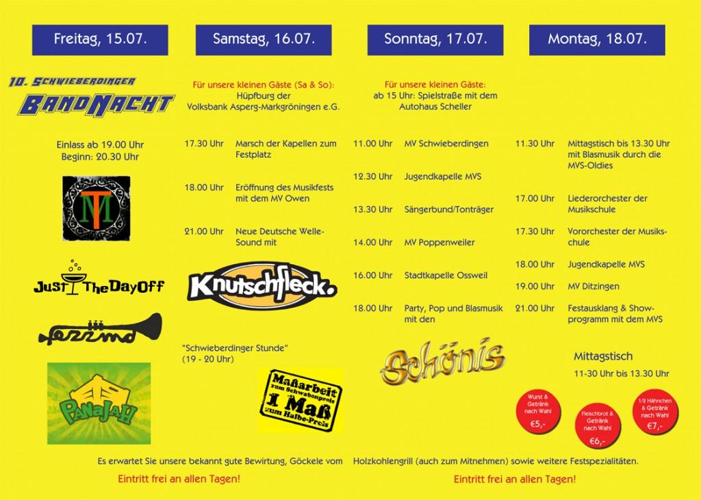 Programm Musikfest 2016