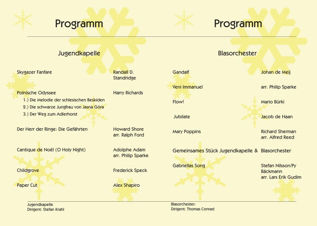 Programm Weihnachtskonzerte